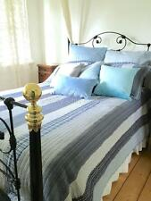 3 pce King Bed Quilt Set Farmhouse Pottery Rustic Blue Barn Navy Plaid Patchwork