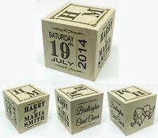 Beautiful Personalised Wedding Anniversary Record Solid Wood Block Gift Present