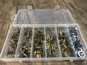 yellow zinc door fender body moulding trim clips & nuts assortment  fits dodge