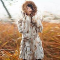 Womens Real Rabbit Fur Coat Raccoon Fur Collar Hoodie Jacket Fur winter Parka