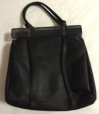 Franchi Black Satin Cloth Satchel With Acrylic Closure Handbag Purse Lovely