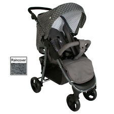 NEW MY BABIIE GREY TRIANGLES MB30 PUSHCHAIR COMPACT STROLLER WITH RAINCOVER
