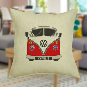 Personalised Campervan Cushion Cover With Any Name Printed, Birthday Gift Idea