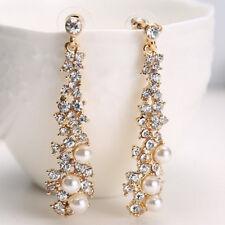 UK Seller Pair of Alloy Rhinestone Crystal Faux Pearl Drop Earrings Jewellery