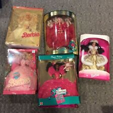 5 doll Barbie lot NRFB Happy Birthday, Dream Bride, 1990 Happy Holidays, more!