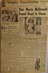 1965 Vintage Newspaper Star Marie McDonald Dead Daughter Confederacy Comet