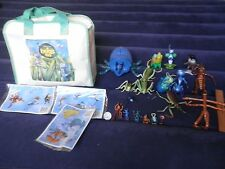 18 Disney Pixar A Bug's Life Rubber Figure Lot: Matching Canvas Bag & Stickers:
