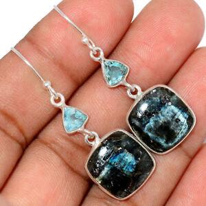 Larvikite Stone - Black Moonstone, Norway 925 Silver Earrings Jewelry BE46537