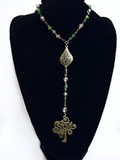 Bronze Tree Of Life Crystal Beads Rosary Necklace Goth Pagan Wicca Prayer Beads