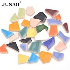 Junao 20Pcs Mix Color Mosaic Glass Stones Glass Mosalic Tiles Glass Pebbles Craf