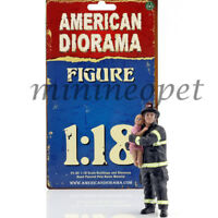 AMERICAN DIORAMA FIREFIGHTER FIGURE 1/18 SAVING LIFE with BABY AD-77460