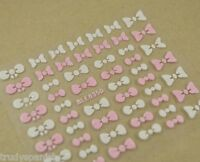 3D Design Nail Art Stickers Decals Pink and White Bows Decoration Kawaii