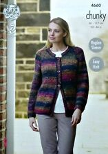 KNITTING PATTERN Ladies Easy Knit Long Sleeve Round Neck Cardigan Chunky 4660