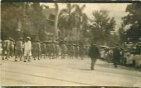 C-1910 Honolulu Hawaii Main Street Parade Military Soldiers RPPC Postcard 20-666