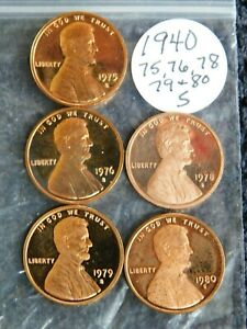 1976 S 1976 S 1978 S 1979 S 1980 S Proof SH1940 Lincoln Penny Proof