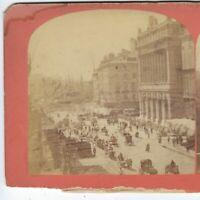 Canebière, Palais de la Bourse, Marseille, France, Circa 1870's Stereoview Card
