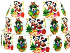 "Grosgrain Ribbon Ribbon 7/8"" & 1.5"" Christmas Tree Minnie Mouse & Mickey Mouse."