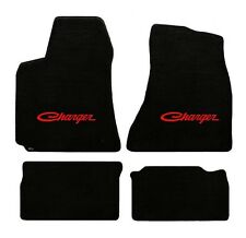 NEW! BLACK FLOOR MATS 1966-1967 Dodge Charger Script Embroidered Logo in Red 4pc