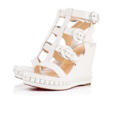 NIB Christian Louboutin Rocknbuckle 009 110 White Platform Wedge Sandal Heel 41