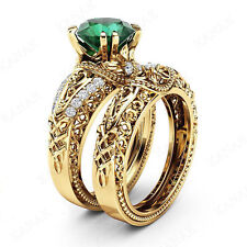 2.35 ct Emerald & Natural Diamond 10k Yellow Gold Vintage Bridal Engagement Ring
