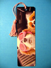 """Cute Dogs"" Image on Tassel Bookmark (pink tassel)-Sku# 353"