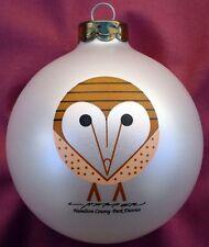 Charlie/ Charley Harper - Glass Christmas Ornament - BARN OWL - bird fun