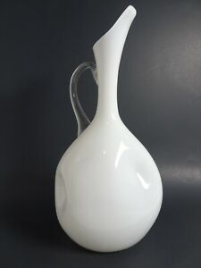 """Vintage White/Clear Glass Pitcher w/ Applied Handle 14"""" Tall"""