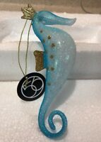 New Dept 56 Gone to the Beach Blue Gold Seahorse Christmas Ornament Enesco