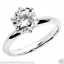 4 Ct Round Cut Solitaire Engagement Wedding Promise Ring Solid 18K White Gold
