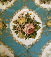 Vintage French Roses Cameo Cartouche Cotton Fabric ~ Blue Rose Gold Olive Gray
