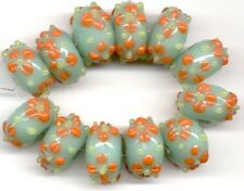 12 PCS Seafoam Orange Daisy Rondelle Lampwork Beads Loose Jewelry Craft Spacer