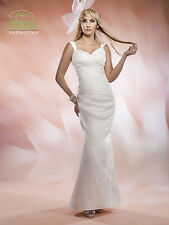 NEW Marys Bridal Civil Destination Wedding Dress Satin V Neck 2525 White SZ 12