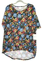 New L Large Lularoe Irma Tunic Floral Black Base Blue Red Green Roses Top