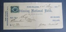 Old 1878 - PINE PLAINS N.Y. - Bank Check - Revenue Stamp - Dutchess County
