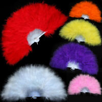 Showgirl Dance Show Elegant Large Feather Folding Hand Fan Decor Stage Prop