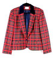 Pendleton womens coat jacket plaid virgin wool blazer Made in USA red size 16