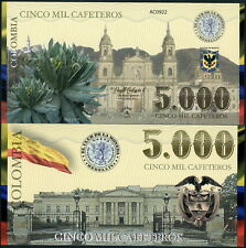 COLOMBIA CLUB DE LA MONEDA 5000 CAFETEROS 2013 POLYMER FANTASY NOTE BUILDINGS!