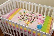Baby Cot Set 3 piece Set Appliqued Quilt Owl Pink Motifo Fitted Sheet, Cot Skirt