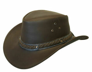 LEATHER HAT AUSSIE BUSH COWBOY STYLE Classic Western Outback Brown