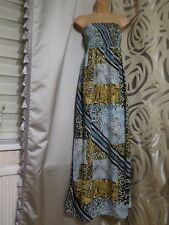 George Multicolour Strapless Bandeau Long Maxi Summer Dress Size 10 12 14