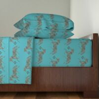 Blue Green Equestrian Horse Morroccan 100% Cotton Sateen Sheet Set by Roostery