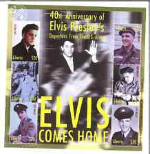 40th Anniversary Elvis Presley Come's Home The U.S. Army Stamps Liberia Six