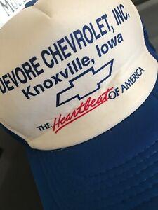 Ancienne Casquette Vintage CHEVROLET Devore Knoxville Iowa CROWN OLD Camaro Corv
