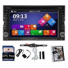 Double 2DIN Car In Deck GPS Navigator DVD MP3 Player Radio Bluetooth+Free Camera