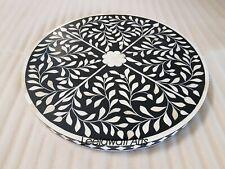 Antique Handmade Bone Inlay Table Top Floral Design Black Color