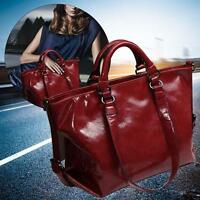 Burgundy Fashion Ladies Shoulder Bag Tote Purse Oiled Leather Women Messenge #M