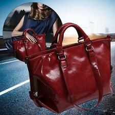 Burgundy Fashion Ladies Shoulder Bag Tote Purse Oiled Leather Women Messenge #G