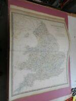 100% ORIGINAL LARGE ENGLAND MAP BY JOHNSTON NATIONAL ATLAS C1857 VGC RAILWAYS