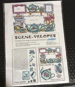 SCENEVELOPES STAMP SET BNIP CARDMAKING SCRAPBOOKING MIXED MEDIA TEA PARTY