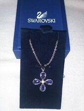 Authentic Swarovski Crystals Purple Clover Flower Pendant Silver Chain Necklace